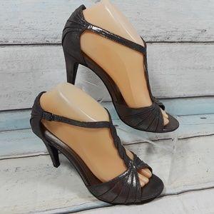 Kelly Katie Metallic Silver Heels Open Toe Sandals